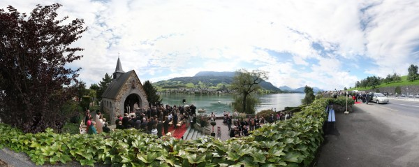 King Albert II visit to the Astrid Chappel in Küssnacht, Switzerland