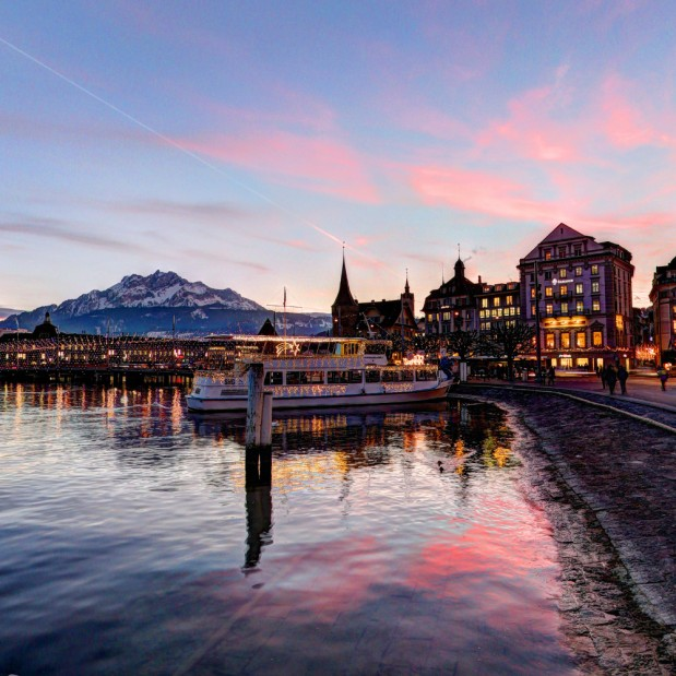 Sunset with Christmas lightning in Luzern