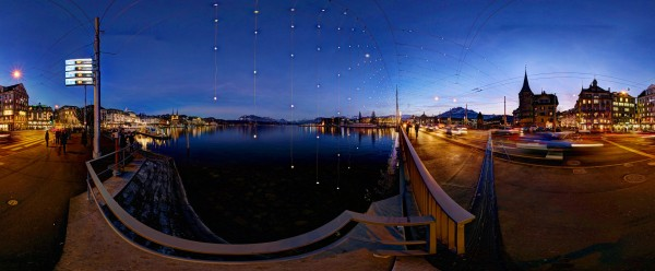 Christmas lights over Luzern, including across the bridge